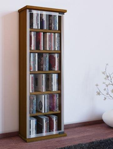 VCM Regal DVD CD Rack Medienregal Medienschrank Aufbewahrung Holzregal Standregal Möbel Schrank Möbel Eiche Classic (Holz Cd-vitrine)