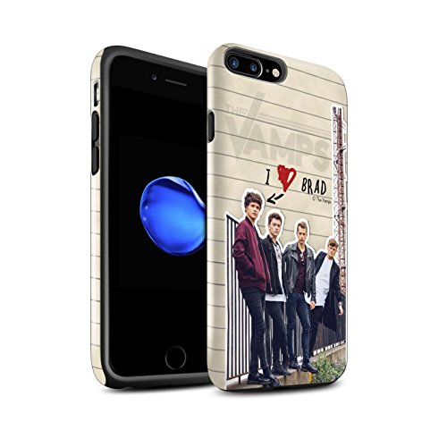 Offiziell The Vamps Hülle / Glanz Harten Stoßfest Case für Apple iPhone 7 Plus / Connor Muster / The Vamps Geheimes Tagebuch Kollektion Brad