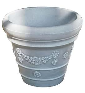 Planzgefäß-Set Terra Pot m. Untersetzer, Farbe ornament grau