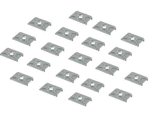 Gedotec Möbelverbinder für Kleiderschrank Möbel-Klammer zum Befestigen - H3501 | Rückwand-Klammer Stahl verzinkt | Schrank-Verbinder für Möbel-Rückwände | 20 Stück - Rückwand-Verbinder zum Schrauben