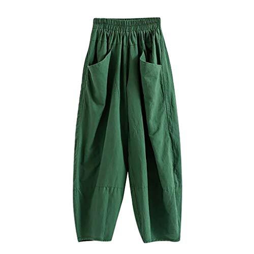 Damen Herbst Hosen Atmungsaktive Sporthose Komfortable Elegant Hohe Taille Böhmen Beiläufig Strandhosen Streifen Baumwolle und Leinen Pants Lose Taschen Cropped Pants Spleißen (EU:44, Grün) -