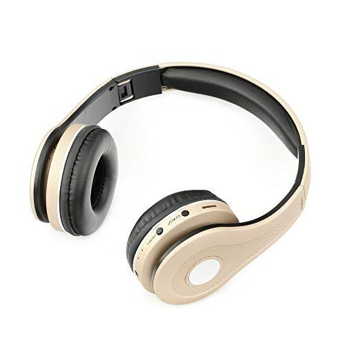 Over Ear Bluetooth Kopfhörer Kabellos Sport Stereo FM/AUX-in/TF Headset Kristallklar Bass Gold - Fm-stereo-headset