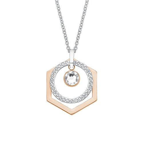 s.Oliver Damen-Kette mit Anhänger Bicolor Geometrie Edelstahl Kristall weiß 75 cm-2012588