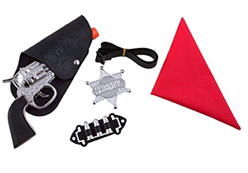 Halloweenia - Cowboykostüm Set - Halstuch Gürtel Patronen Revolver Pistole Sheriff Stern, Mehrfarbig (Weste Und Chaps Set Kostüme)