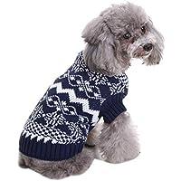 Shuda 1 pc Pull de Navidad para Animales domésticos Pull Perro otoño Invierno Azul Disfraces para