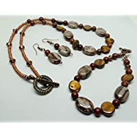 Chocolate Jasper Ovals, Brown Mother of Pearl Coins and Picasso Jasper beaded Necklace, Bracelet & Earring set