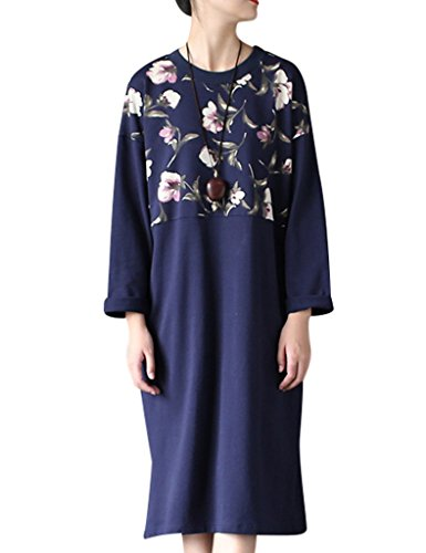 Youlee Donna Primavera Tondo Collare Fiore Stampato Vestito Blu