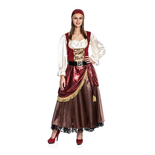 Kostümplanet® Piratenkostüm Damen Deluxe Piratin-kostüm Frauen Kostüm Pirat Piraten-Kleid Größe ()