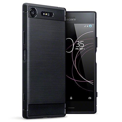 TERRAPIN, Kompatibel mit Sony Xperia XZ1 Hülle, TPU Schutzhülle Tasche Case Cover mit Karbonfaser & Ausgebürstet Dessin - Schwarz Sony-schutzhülle