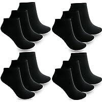 12 bis 60 Paar Damen Herren Sneaker Socken Sport Füßlinge Baumwolle Quarter Kurzsocken Business Schwarz Weiß 35-38 ; 39-42 ; 43-46- BestSale247