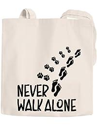 faba6eeb19436 Jutebeutel Never walk alone Hund Pfoten Hundepfoten Pfotenabdrücke  Hundebesitzer Baumwolltasche Stoffbeutel Tragetasche Moonworks®…