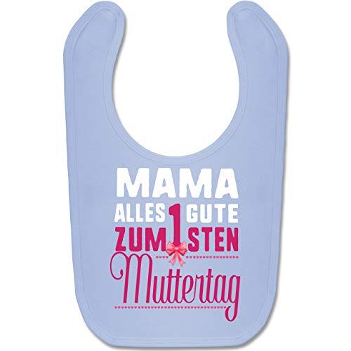 Shirtracer Muttertag Baby - Mama, alles Gute zum 1sten Muttertag - Unisize - Babyblau - BZ12 - Baby Lätzchen Baumwolle