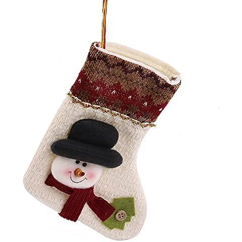 nsrzhp Calze di Natale 20cm 3d Babbo Natale/Pupazzo di neve/Renna Calze ornament- ideale casa albero di Natale decorazione, Flanella, Muti-White, medium