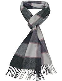 Grau Kaschmir Schal für Herren - Lovarzi Karierte Kaschmir Männer Schal - Made in Großbritannien