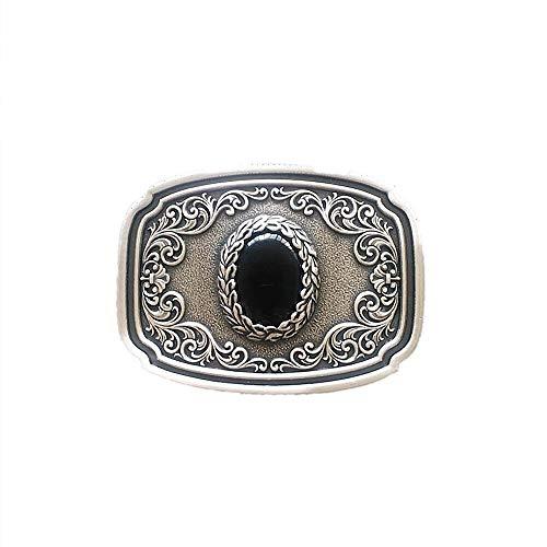 chnalle Buckle Western Ornament mit schwarzem Obsidian Vintage Echt Versilbert ()