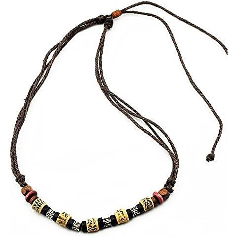 Real Spark Ancient Tribe Unisex cordón de algodón hecho a mano collar de cuentas ajustable