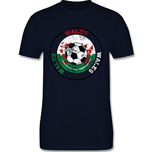 EM 2016 - Frankreich - Wales Kreis & Fußball Vintage - Herren Premium T- Shirt