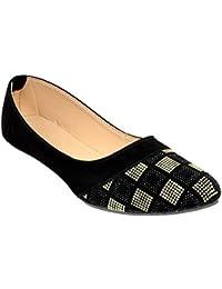 Altek Designer Slip-on Black Ballerina For Women (foot_1398_cream_p150)