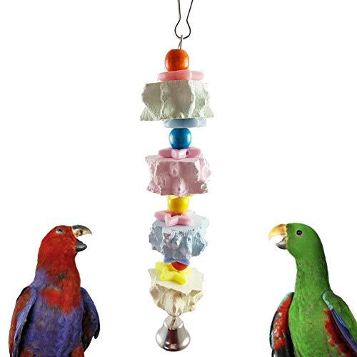 Smilikee Parrot Kauspielzeug, Vogelschnabel-Schleifsteinkette mit Glocke, Lava-Block-Kalziumzusatz und natürlichem chinesischem Sittich aus Eschenholz für kleine, mittlere und große Papageien - Natürliche Kalzium