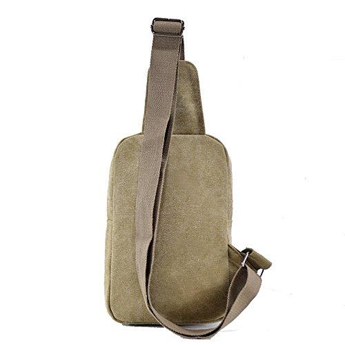 Mens Leinwand l?ssig diagonal Brust Taschen Outdoor-Taschen Khaki