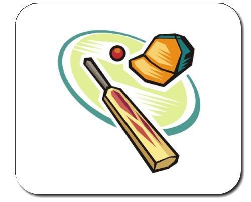 Mauspad mit der Grafik: Cricket- Ausrüstung