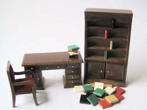 Arbeitszimmer braun zum Selbstgestalten Puppenhausmöbel Miniatur 1:12