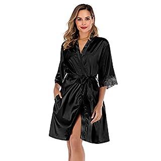 ABirdon Women's Kimono Robes Dressing Gown Satin Bathrobe Nightdress Oblique V-Neck Kimono Robe Nightwear Black