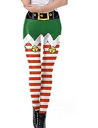 Rovinci_Pantalones ¡Gran promoción Mujeres Leggings Feliz Navidad Bell Raya Estampado de Tighten Cintura Alta Lápiz Pantalones Pantalones Leggings