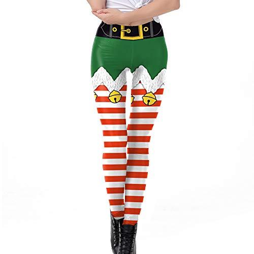 Jeans Sommer,Womens Christmas Bell Stripe Print Straffen hohe Taille Bleistift Hose Hose (M, Green) ()