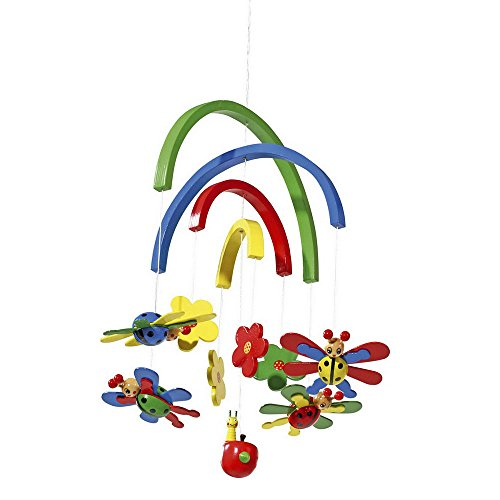 """Legler Mobile """"Marienkäfer"""" aus Holz, mit bunten beweglichen 3D-Motiven, ein toller Blickfang für das Baby- und Kinderzimmer,  von Geburt an geeignet"""