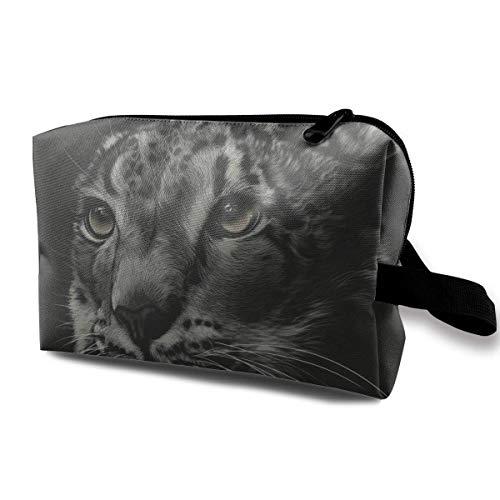 ktasche Bürstentasche Katze Schneeleopard Reißverschluss Stift Veranstalter Tragetasche schwarz Schminktasche ()