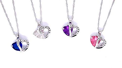 Designshop Ensemble de 4 pendentifs cœurs : Bleu, Blanc,...