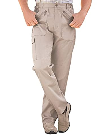 Mens Elasticated Multi Pocket Cargo Combat Work Trousers Stone 40W x 31L