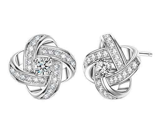Unendlich U Satelliten Serie 925 Sterling Silber Ohrstecker Ohrringe Damen mit Zirkonia Gold Plattiert Allergenfrei Geschenke für Sie zum Muttertag