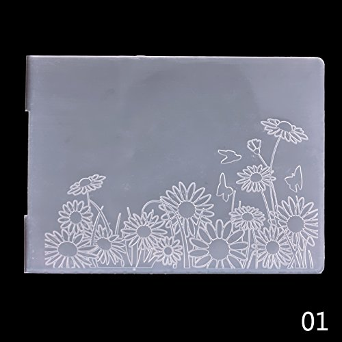 CALISTOUK Plastic Embossing Folder Newest Classical Pattern Plastic DIY Album Card Tool Template£¬Sunflower (Set Template Card)