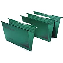 Rexel Foolscap Suspension Files with Crystal Link Tabs, 15 mm V-base, 100 Percent, Recycled Manilla, Green, Crystalfile Classic, Pack of 50, 3000030