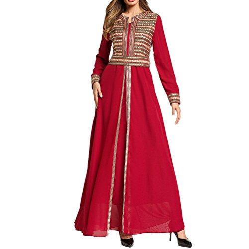 Zhuhaitf Elegantes Boho Maxi Kleid Formal Gestickte Partei Abschlussball Cocktail Lange Caftan Kaftans für Frauen mit Langen - Marokkanische Brust
