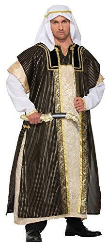 Arabischen Scheich Outfit (Herren Deluxe Arabischer Scheich Arabisch Halloween Kostüm Kleid Outfit 3XL XXXL 56