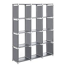 SONGMICS Cube Storage, 12-Cube Bookcase, DIY Closet Organiser, Storage Shelf in Living Room, Children's Room, Bathroom, 105 x 30 x 140 cm, Includes Rubber Mallet, Grey LSN12GY