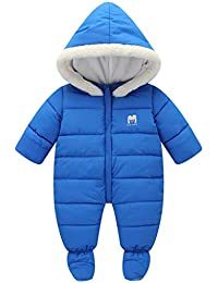 ff1803559 JiAmy Baby Hooded Romper Cotton Snowsuit Warm Onesie Jumpsuit Winter  Outfits for 0-12 Months