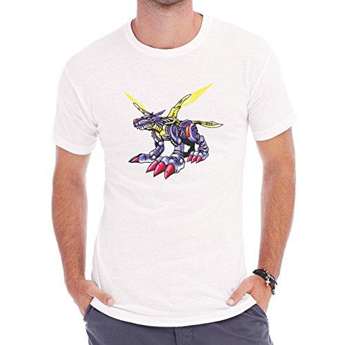 Digimon Garurumon Wolf Gabumon Big Metal Herren T-Shirt Weiß
