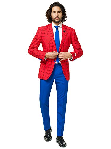 Avengers Spider Mann Kostüm - Opposuits Official Marvel Comics Hero Suits - Infinity War Avengers Costume Comes with Pants, Jacket and Tie, Spiderman,52