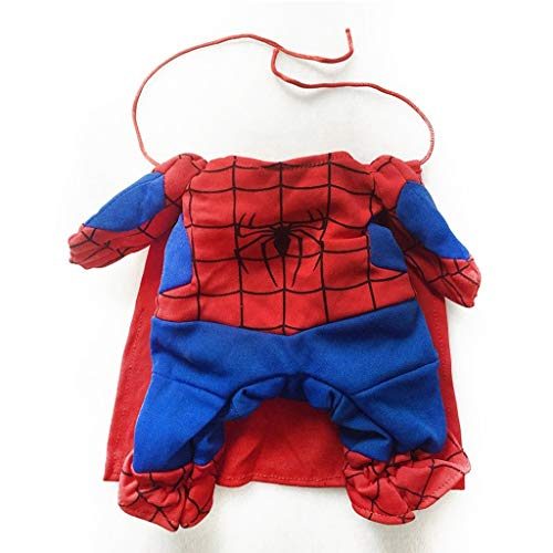 LZRZBH Spiderman Hund Kleidung Katze kostüme mit mänteln Haustiere Dress up Tricky spinne Superman, Hund Hund Kleidung welpen pet Overall Superman (größe : L (29-35cm ()