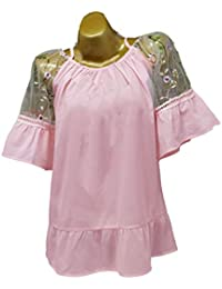 OUFour Verano Mujeres Tops Sexy Cuello Barco Camiseta de Tirantes T-Shirt  Camisas Perspectiva Tul 1bb57bab2ac