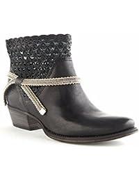 Felmini - Zapatos para Mujer - Enamorarse com Kelly 8273 - Botines Cowboy & Biker - Cuero Genuino - Negro - 0 EU Size