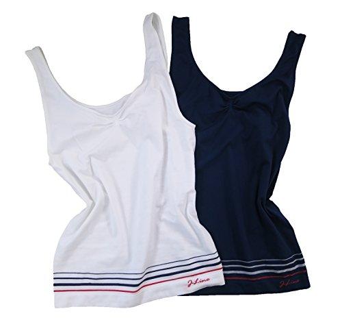1er oder 2er SEAMLESS TOP Damen Underwear Unterwäsche Unterhemd Shirt nahtlos Weiß + Blau