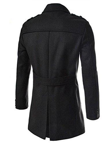 SMITHROAD Herren Trenchcoat lange Jacke Zweireihig Mantel Herbst Winter Coat Outfit Schwarz