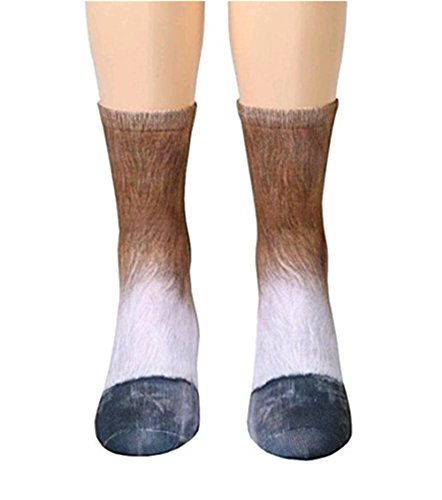 ew Gedruckt Socken Erwachsene Herren Damen Polyester Socken Lustige Socken für Geburtstags Karneval Weihnachten Halloween Party (Pferd) (Lustige Kostüme Für Weihnachten)