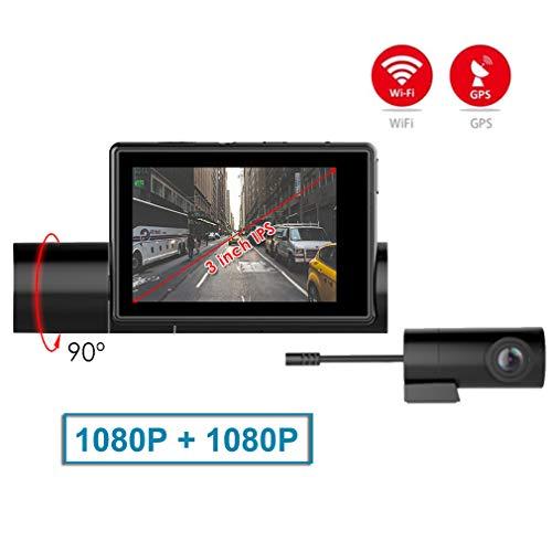 SZKJ LS03 Dashcam mit Touchscreen für Armaturenbrett, DVR mit GPS, WiFi, Frontkamera 1080P + Rückkamera 1080P Nachtsicht Dual Linse Dashcam Dvr-station