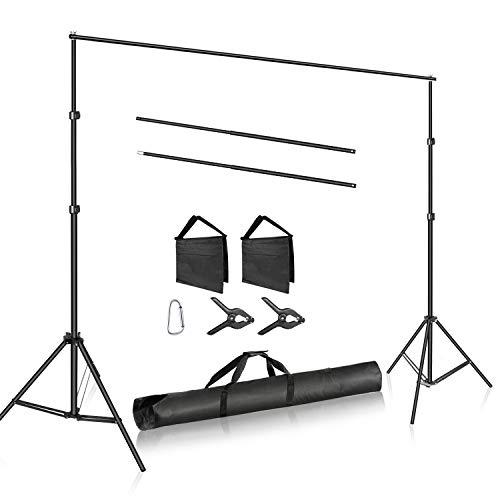 Neewer Système de Support de Fond Photo Studio Réglable avec 2 Pinces pour Toile de Fond, 2 Sacs de Sable et Sac de Transport pour Portrait Photo Studio Vidéo